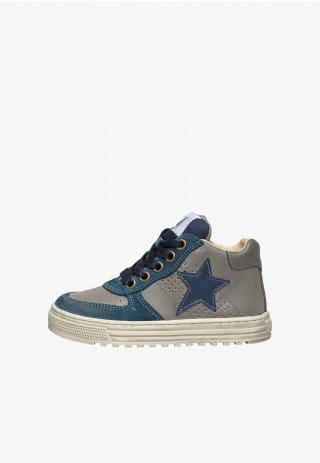 NATURINO HESS HIGH. - Suede detail-embellished high-top sneakers - Grey/Navy