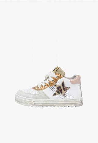 NATURINO HESS HIGH. - Leather high-top sneakers featuring glitter details - White