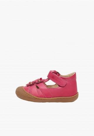 NATURINO MAGGY - Sandalo semi chiuso con fiori applicati - Fuxia